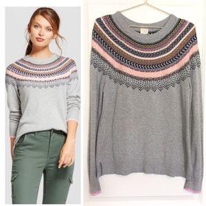 A New Day | Fair Isle Gray Sweater